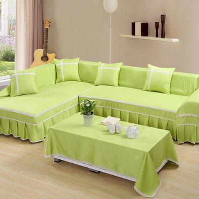四季款丝光绒雕花系列万能盖巾沙发巾沙发套沙发罩抱枕套桌布 45*45cm抱枕芯 绿色清新
