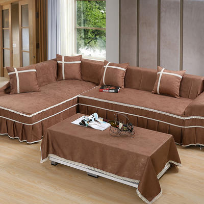 四季款丝光绒雕花系列万能盖巾沙发巾沙发套沙发罩抱枕套桌布 45*45cm抱枕芯 咖色深情