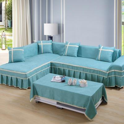 四季款丝光绒雕花系列万能盖巾沙发巾沙发套沙发罩抱枕套桌布 200*350cm四人位 蓝色河畔