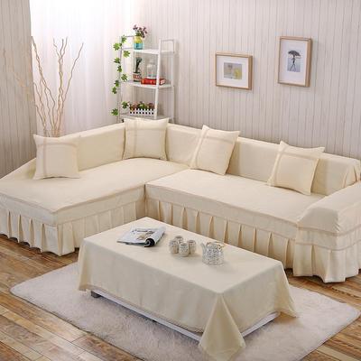 四季款丝光绒雕花系列万能盖巾沙发巾沙发套沙发罩抱枕套桌布 200*350cm四人位 米色淡雅