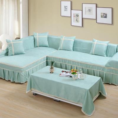 四季款丝光绒雕花系列万能盖巾沙发巾沙发套沙发罩抱枕套桌布 200*350cm四人位 青色乐园