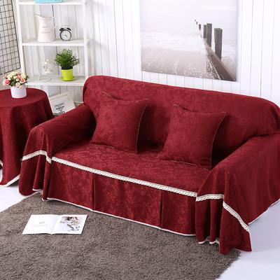 提花系列万能盖巾沙发套沙发巾抱枕套桌布 抱枕45*45cm 凤之舞-红