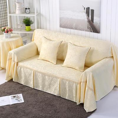 提花系列万能盖巾沙发套沙发巾抱枕套桌布 抱枕45*45cm 凤之舞-米色
