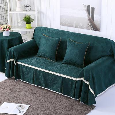 提花系列万能盖巾沙发套沙发巾抱枕套桌布 抱枕45*45cm 凤之舞-墨绿