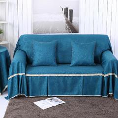 提花系列万能盖巾沙发套沙发巾抱枕套桌布 双人200*260cm 凤之舞-深蓝