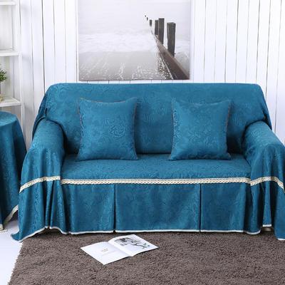 提花系列万能盖巾沙发套沙发巾抱枕套桌布 抱枕45*45cm 凤之舞-深蓝