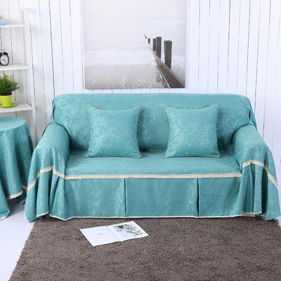 提花系列万能盖巾沙发套沙发巾抱枕套桌布 抱枕45*45cm 凤之舞-中蓝