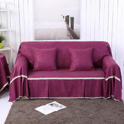 提花系列万能盖巾沙发套沙发巾抱枕套桌布 抱枕45*45cm 凤之舞-紫