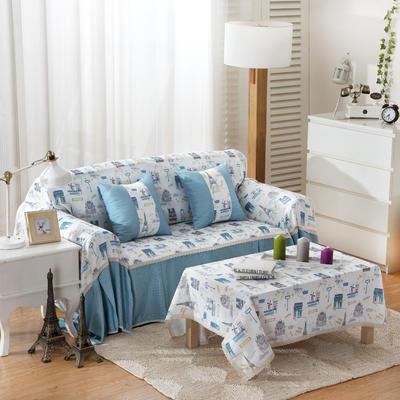 韩式印花全盖沙发巾万能盖巾沙发套罩桌布抱枕套 215*200cm单人位 童话铁塔