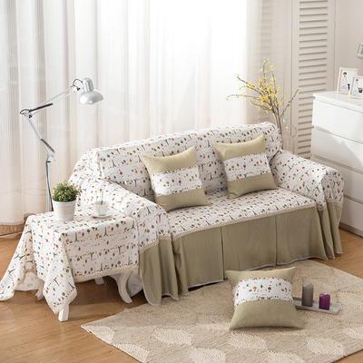 韩式印花全盖沙发巾万能盖巾沙发套罩桌布抱枕套 215*200cm单人位 淋雨森林
