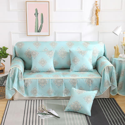 2019新款-欧式印花系列沙发巾沙发垫万能盖巾全盖沙发巾沙发套沙发罩 单人座200*200 安吉娜-蓝