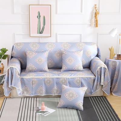 2019新款-欧式印花系列沙发巾沙发垫万能盖巾全盖沙发巾沙发套沙发罩 同款抱枕套45*45 安吉娜-紫