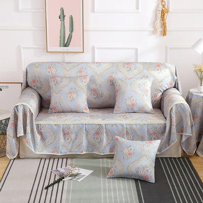 2019新款-欧式印花系列沙发巾沙发垫万能盖巾全盖沙发巾沙发套沙发罩 同款抱枕套45*45 奥卡丝-灰