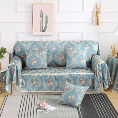 2019新款-欧式印花系列沙发巾沙发垫万能盖巾全盖沙发巾沙发套沙发罩 同款抱枕套45*45 奥卡丝-蓝