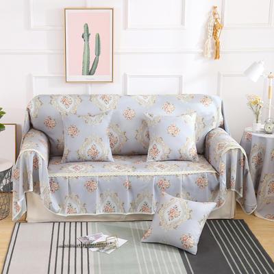 2019新款-欧式印花系列沙发巾沙发垫万能盖巾全盖沙发巾沙发套沙发罩 同款抱枕套45*45 黛茉-灰