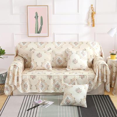 2019新款-欧式印花系列沙发巾沙发垫万能盖巾全盖沙发巾沙发套沙发罩 同款抱枕套45*45 黛茉-米