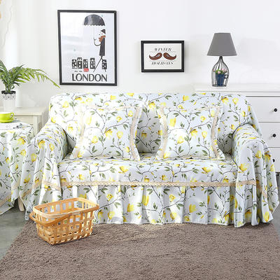 2019新款-欧式印花系列沙发巾沙发垫万能盖巾全盖沙发巾沙发套沙发罩 单人座200*200 香兰-黄