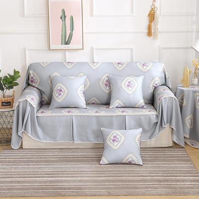 田园风系列全盖沙发巾沙发罩万能盖巾桌布抱枕套 215*200cm单人位 品尚灰