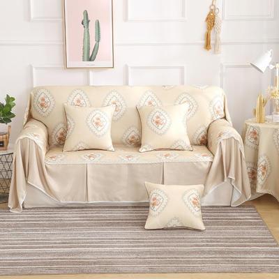田园风系列全盖沙发巾沙发罩万能盖巾桌布抱枕套 215*200cm单人位 品尚咖