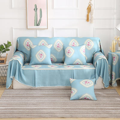 田园风系列全盖沙发巾沙发罩万能盖巾桌布抱枕套 215*200cm单人位 品尚蓝
