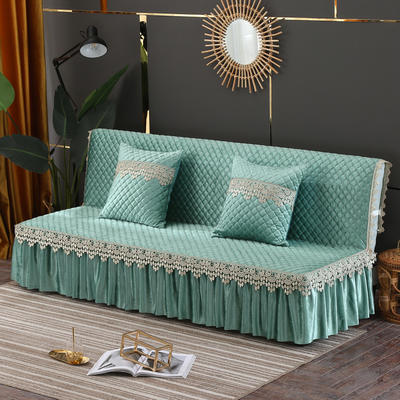 2019新款-意大利绒沙发床罩万能盖巾沙发垫沙发罩 同款抱枕套45*45 水绿