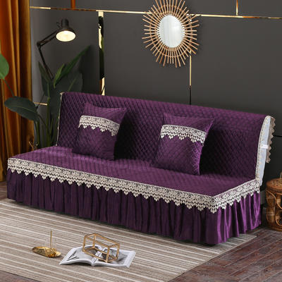 2019新款-意大利绒沙发床罩万能盖巾沙发垫沙发罩 同款抱枕套45*45 紫