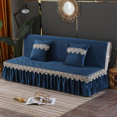2019新款-意大利绒沙发床罩万能盖巾沙发垫沙发罩 同款抱枕套45*45 深蓝
