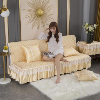 2020新款-加厚折叠无扶手沙发床套罩四季通用全盖防滑沙发垫可定做 1.2米 米黄