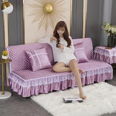 2020新款-加厚折叠无扶手沙发床套罩四季通用全盖防滑沙发垫可定做 1.2米 时尚紫