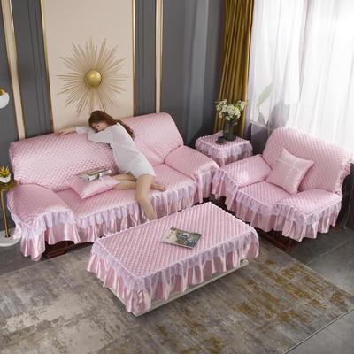 2020新款-全盖沙发垫四季通用加厚防滑沙发垫罩可定做 150*150CM不含下摆 公主粉