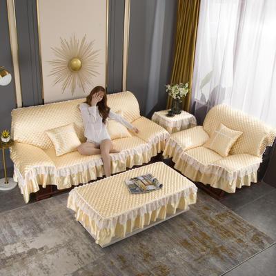 2020新款-全盖沙发垫四季通用加厚防滑沙发垫罩可定做 150*150CM不含下摆 米黄