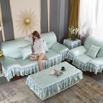 2020新款-全盖沙发垫四季通用加厚防滑沙发垫罩可定做 150*150CM不含下摆 水绿