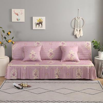 2020新款-跑量四季款加厚无扶手沙发床套罩全盖防滑沙发垫巾可定做 120*138cm(不含下摆) 繁花-粉