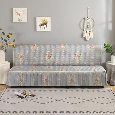 2020新款-跑量四季款加厚无扶手沙发床套罩全盖防滑沙发垫巾可定做 120*138cm(不含下摆) 繁花-灰