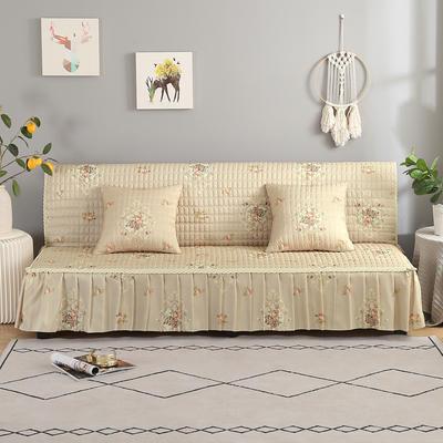 2020新款-跑量四季款加厚无扶手沙发床套罩全盖防滑沙发垫巾可定做 120*138cm(不含下摆) 繁花-米