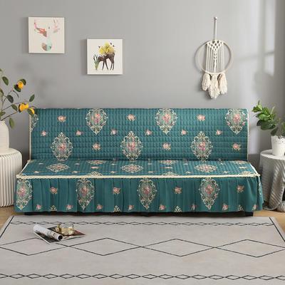 2020新款-跑量四季款加厚无扶手沙发床套罩全盖防滑沙发垫巾可定做 120*138cm(不含下摆) 繁花-墨绿
