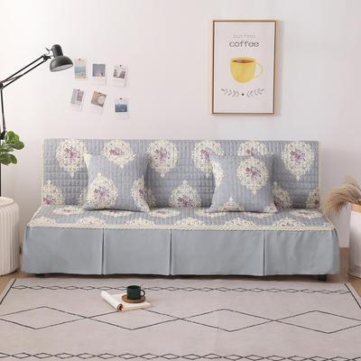 2020新款-四季双拼印花款沙发床罩 120*138cm(不含下摆) 唯美灰