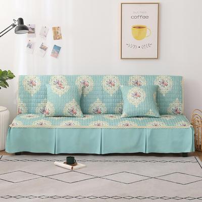 2020新款-四季双拼印花款沙发床罩 120*138cm(不含下摆) 唯美绿