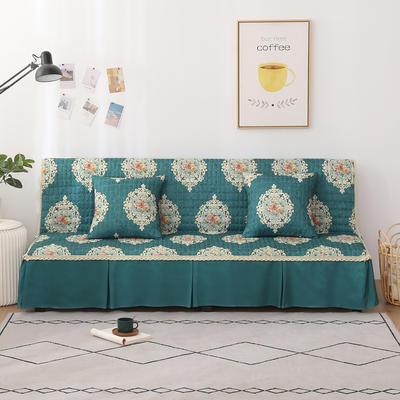 2020新款-四季双拼印花款沙发床罩 120*138cm(不含下摆) 唯美墨绿