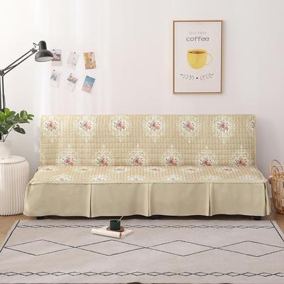 2020新款-四季双拼印花款沙发床罩 120*138cm(不含下摆) 唯美浅咖