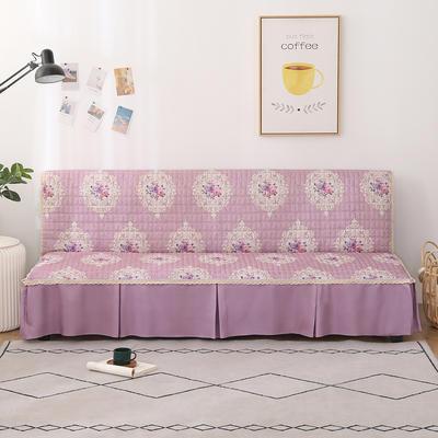 2020新款-四季双拼印花款沙发床罩 120*138cm(不含下摆) 唯美浅紫