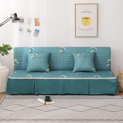 2020新款-四季双拼印花款沙发床罩 120*138cm(不含下摆) 银杏叶墨绿