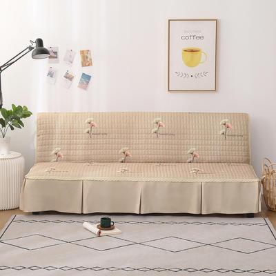 2020新款-四季双拼印花款沙发床罩 120*138cm(不含下摆) 银杏叶浅咖