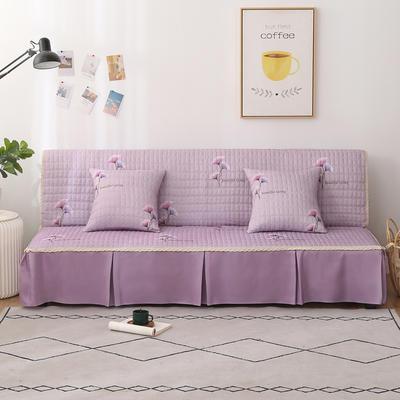 2020新款-四季双拼印花款沙发床罩 120*138cm(不含下摆) 银杏叶浅紫