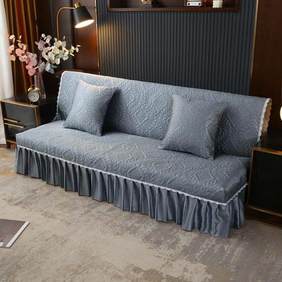 2021新款冰丝雕花沙发罩(加宽型) 1.5米长沙发床 烟波灰