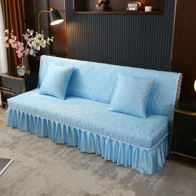 2021新款冰丝雕花沙发罩(加宽型) 1.5米长沙发床 晴天蓝