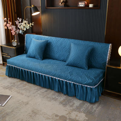 2021新款冰丝雕花沙发罩(加宽型) 1.5米长沙发床 深海蓝