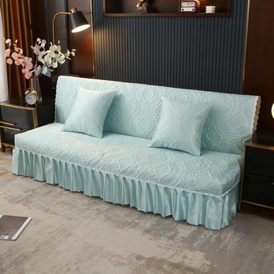2021新款冰丝雕花沙发罩(加宽型) 1.5米长沙发床 碧草青