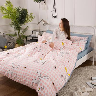 2019春夏水洗棉印花四件套 小号(1.2m)床单款 波点鹿