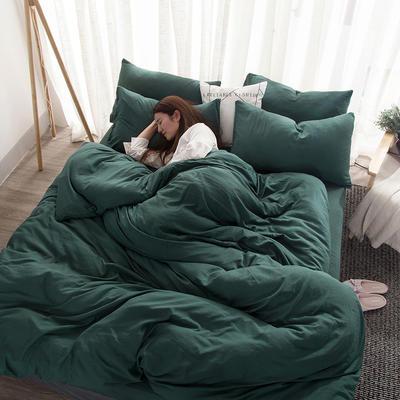 四件套 无印良品水洗棉四件套亲肤水洗棉纯色 1.2m(4英尺)床小号 祖母绿